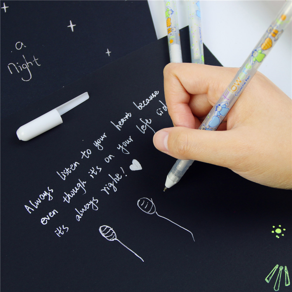 0.8mm White Ink Color Photo Album Gel Pen Stationery Office Learning Cute Unisex Pen
