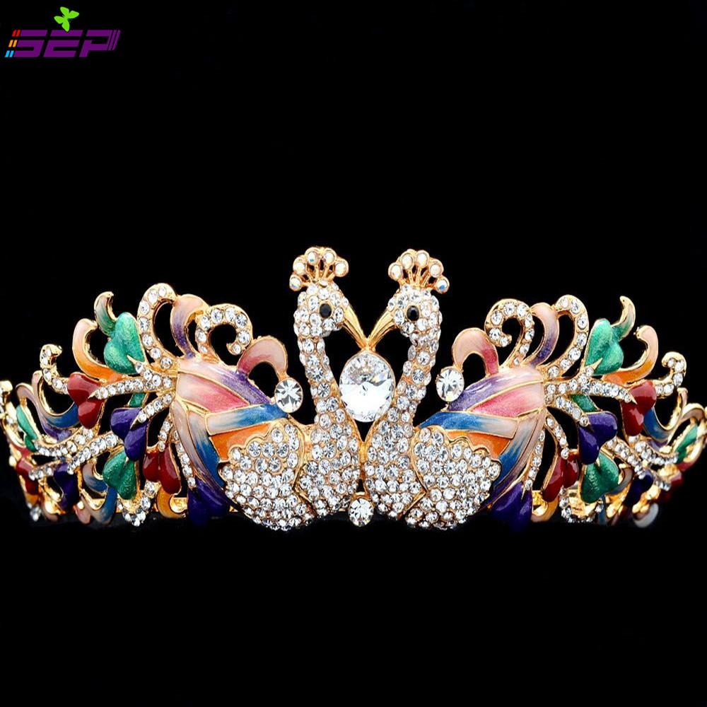 High Quality Enamel 2 Peacock Tiara Austrian Crystals Rhinestone Crown Bridal Wedding Hair Jewelry Accessories SHA8610