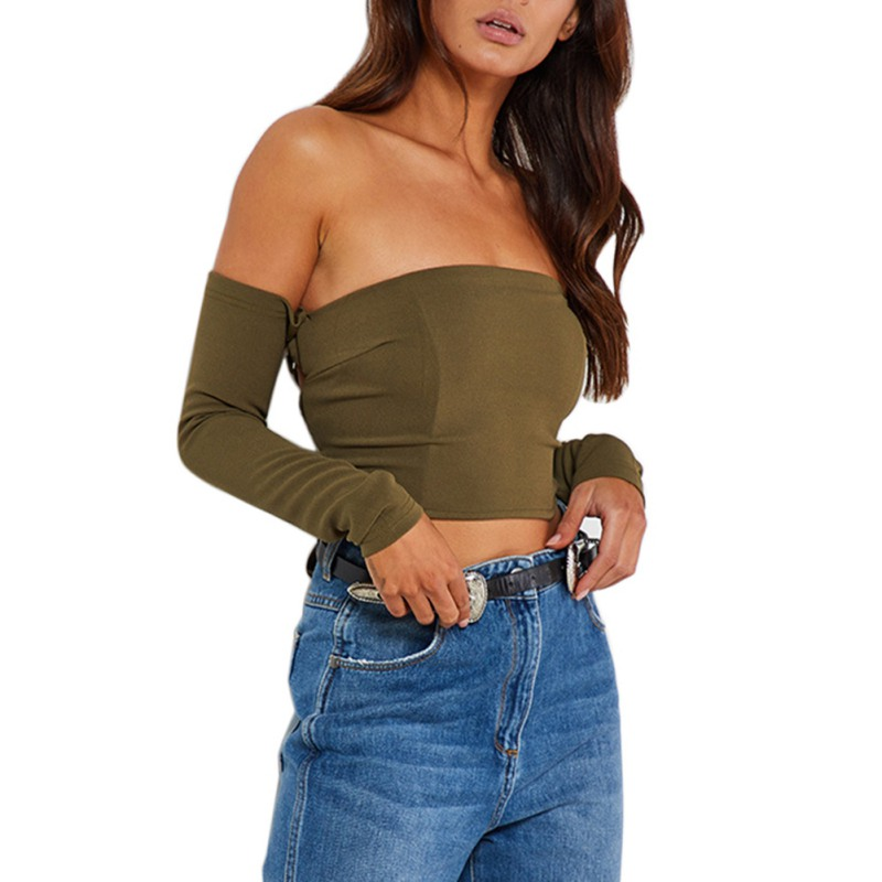 Sexy Slash Neck T Shirt Long Sleeved Back Weave Bow Slim