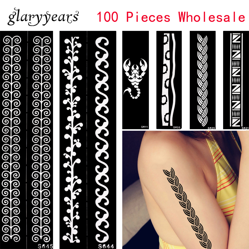 100 Pieces Wholesale Body Art Template 48 Design Bracelet Chain Hollow Drawing Arm Chest Paint Henna Tattoo Sticker Stencil Gift