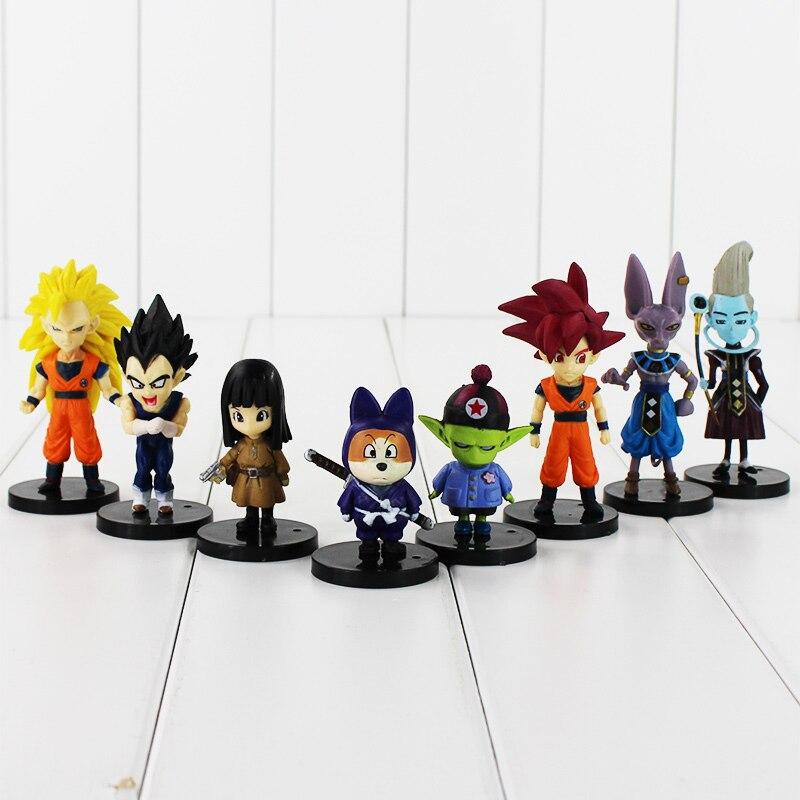 8pcs/lot Dragon Ball Z Battle Of Gods Bataille Des Dieux Goku Vegeta Picollo Daimao Gohan PVC Action Figures