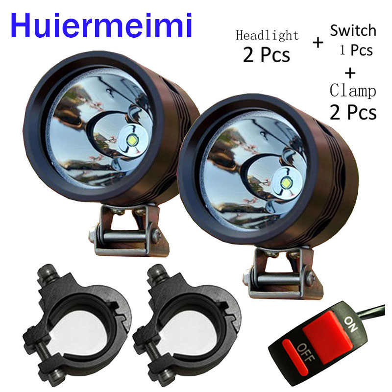 Huiermeimi 2PCS 12w motorcycle spotlight U2 LED 1200LM motorbike headlights moto head spot lights DRL Motorcycle Decorative Lamp