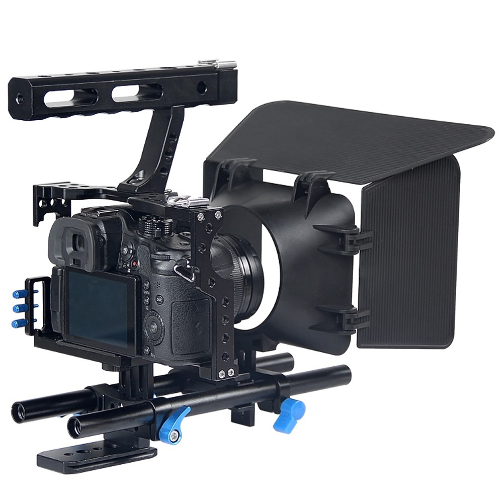 Lightdow Professional 3 in 1 DSLR Handle Stabilizer Rig Camera Cage+Follow Focus+Matte Box Kit For Sony A7S A7 A7R Lumix GH4