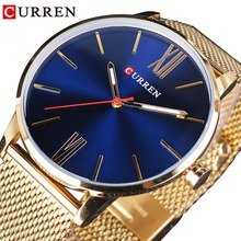 CURREN Gold Stainless Steel Mesh Band Blue Sky Fashion Design Men Business Fashion Quartz Creative Watch Top Brand Luxury Clock все цены