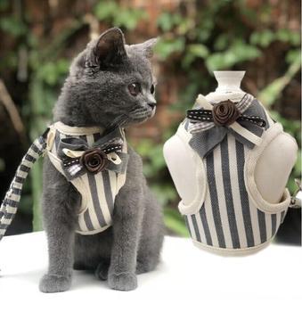 귀여운 작은 애완견 개 하네스 가죽 끈 애완 동물 조끼 하네스 가죽 끈 고양이 목걸이 개와 고양이 조끼 s m l xl