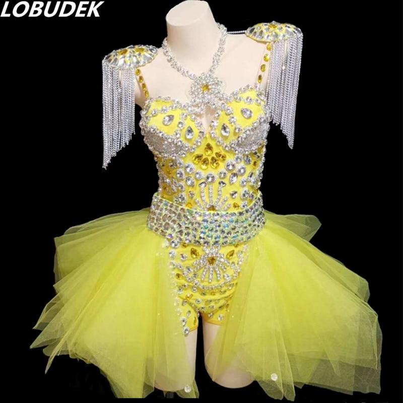 LOBUDEK Bodysuit Skirt Epaulet Yellow Rhinestones Women Set Luxury Stage Costume