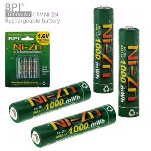 BPI 4pcs 1.6V 1000mAh AAA Rechargeable Battery NiZn Ni-Zn LSD AAA Battery with 10A Current Discharge for Toys Camera Headlamp