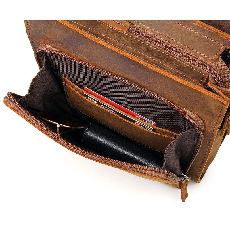 Bagaj ve Çantalar'ten Çapraz Çantalar'de Nesitu Yüksek Kalite Vintage Küçük Kahverengi Siyah Hakiki Çılgın At Deri Erkek postacı çantası Çapraz Vücut omuzdan askili çanta M7055'da  Grup 3