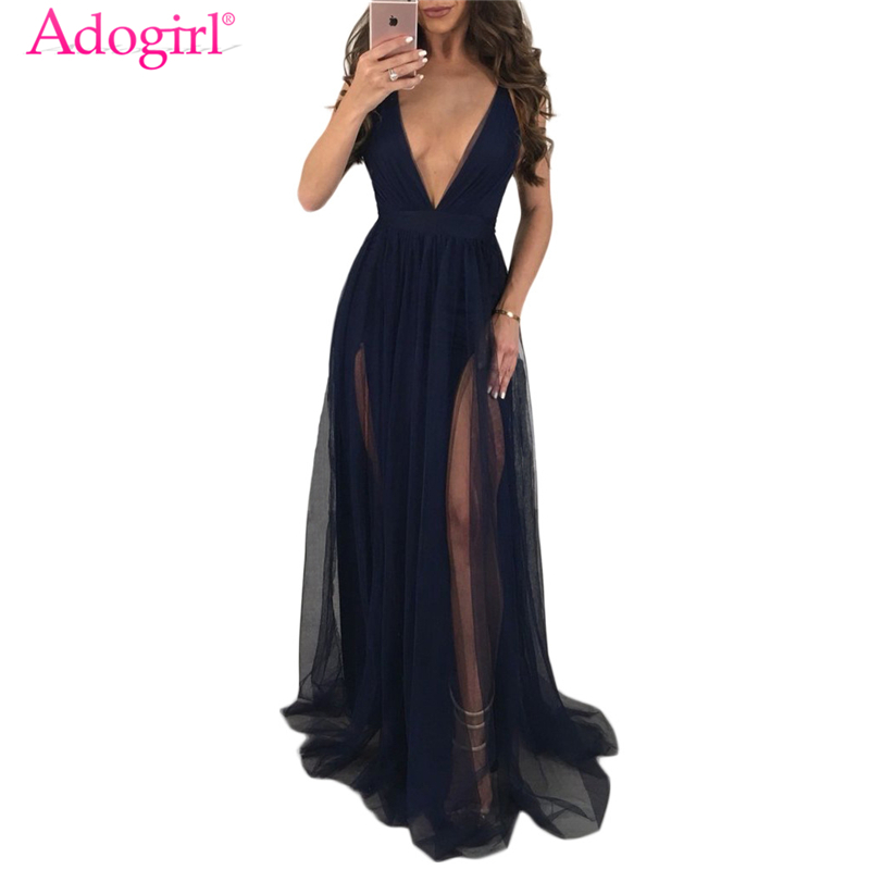 Adogirl Sexy Sheer Mesh Spaghetti Straps Evening Party Dresses Deep V Neck Backless Maxi Night Club Dress Long Summer Dresses