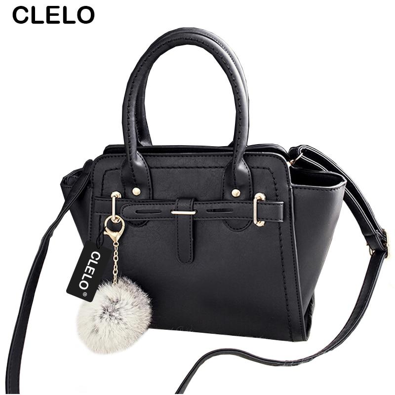 ФОТО CLELO Tote Bags For Women Handbags Fashion Ladies Handbags PU Tote Platinum Bag Ladies Shoulder Bag Women Messenger Bag Fur Ball