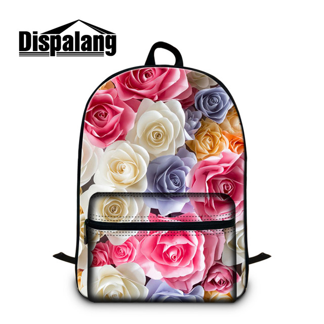 Dispalang brand designer girls lovely flower laptop backpacks multicolor  roses floral big school book bags for teenagers bagpack 40ff8f897cb27