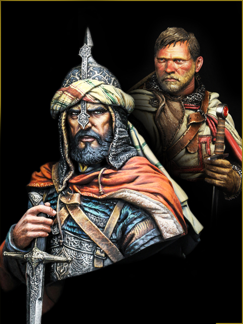 1/10 ARABIAN KNIGHT And TEMPLAR KNIGHT Soldier Bust   Toy Resin Model Miniature Kit Unassembly Unpainted