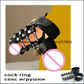 Retail Steel Chastity Cage With Lock Cock Penis Ring pu leather Sex Products Supply Testicles Ring Sex Shop H0304 Free Shipping