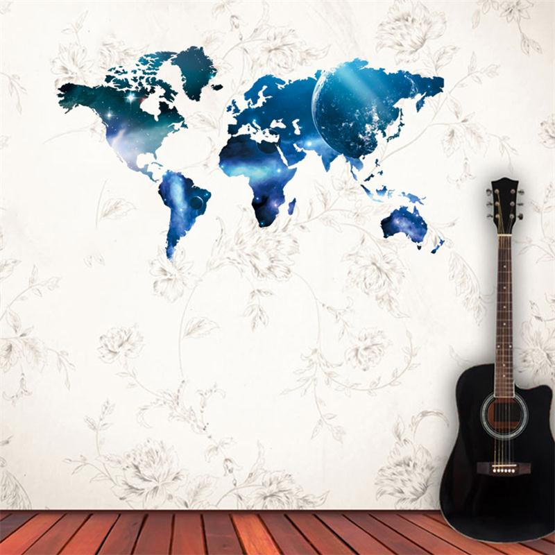 Newest fashion world map outer space home office decal wall sticker newest fashion world map outer space home office decal wall sticker classroom bookstore creative decor computer room mural in wall stickers from home gumiabroncs Gallery