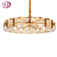 Youlaike Luxury Modern Crystal Chandelier For Living Room High Quality Gold Hang Light Fixtures Round LED