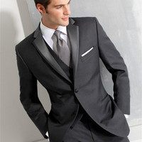 Grey Blazer Masculino Slim Fit Mens Suits Custom Made Wedding Groom 2017 Costume Homme Men Suit New Tuxedo (jacket+pants+vest)