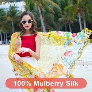 Image 4 - 2019 실크 롱 스카프 럭셔리 브랜드 여성 새로운 디자인 비치 담요 숄 착용 수영복 두건 Hijab 얼굴 방패 풀라 245*110cm
