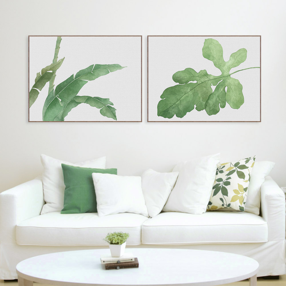 nordic watercolor cool green leaf floral plant canvas large a4 art print poster modern wall pictures home deco painting no frame
