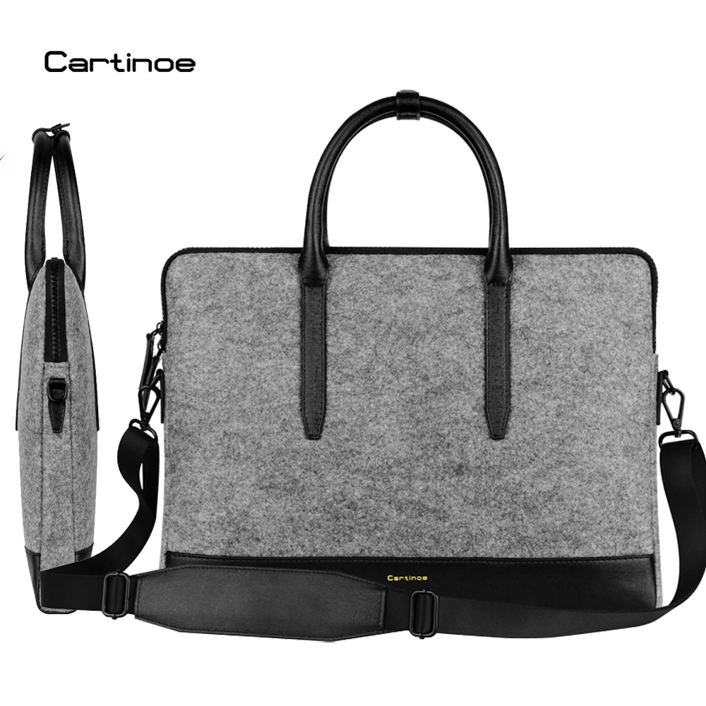 Cartinoe Wool Felt Laptop Bag 11 12 13 14 15 inch Notebook Sleeve Case for Macbook Air 11.6 13.3 Pro Shoulder Messenger Handbag notebook bag 12 13 3 15 6 inch for macbook air 13 case laptop case sleeve for macbook pro 13 pu leather women 14 inch