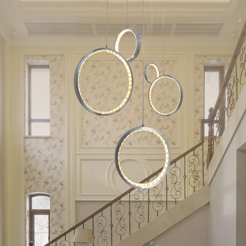 Modern led crystal pendent light with 3 circle ring suspended pendent lamp foyer hanging lamps Dinning Room Indoor home LightingModern led crystal pendent light with 3 circle ring suspended pendent lamp foyer hanging lamps Dinning Room Indoor home Lighting