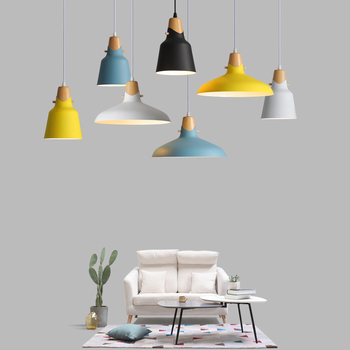 Nordic Macaron Holz Anhänger Licht Bunte Aluminium Suspension Anhänger Lampe Drop Beleuchtung Restaurant Esszimmer Leuchte