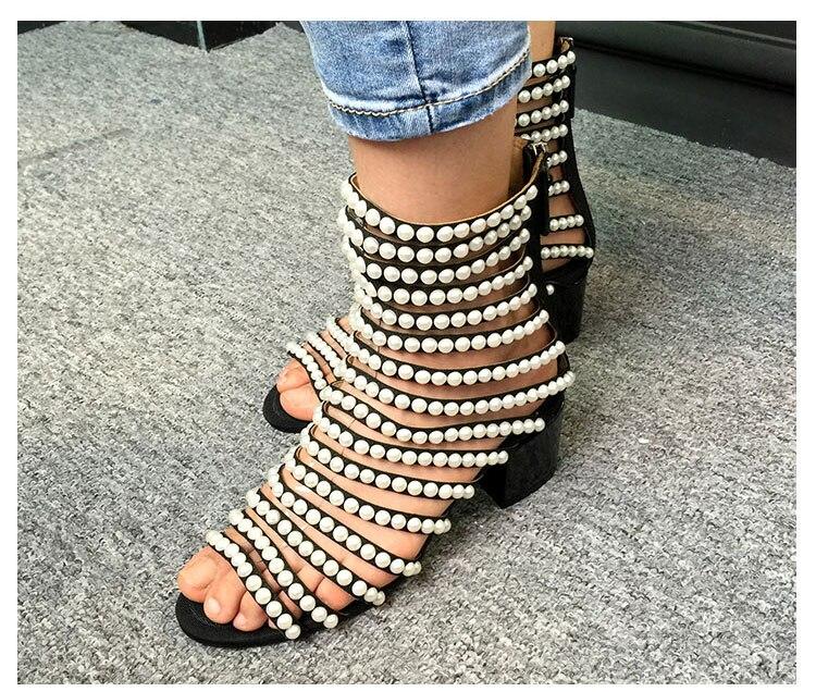 Chaussures Femme Sandalias Mujer Talon Femmes As Sandales Cage Perles À Show D'été Dames Chunky Sexy Bottes Bout Ouvert Découpe Embelli x6Ow6ZqCF