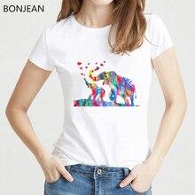 Funny Dumbo Elephant family watercolor animal Print T-Shirt women Street Maiden Tee shirt femme Summer casual t-shirt female