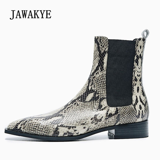 351d0777c8d2 2018 Snakeskin Ankle Boots Woman Pointed Toe Flat Chelsea Boots Women  Fashion Real Leather Short Boots