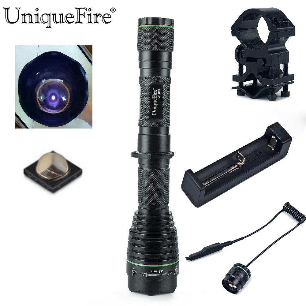 UniqueFire Night Vision Flashlight To Hunt 1508-38mm IR 940NM Zoom Infrared Lamp Torch+Scope Mount+Remote Pressure+Charger uniquefire night vision t67 flashlight uf 1405 ir 850nm led flashlight kit lamp torch remote pressure scope mount charger