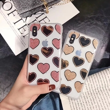 Glitter Soft Phone Case For iPhone X XS Max XR Polka Dot Love Heart Bling Case For iPhone 7 8 6 6s Plus Protective Cover Funda relief polka dot skull style glow in the dark protective plastic back case for iphone 4 black