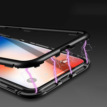 Magnetic Adsorption Phone Case For iPhone XS MAX X XR 10 8 7 6 6S Plus Coque Luxury Magnet Back Glass Cover Fundas bumper Case magnetic adsorption case for iphone x xs max 10 8 7 6 s plus coque tempered glass magnet back cover for iphone xr xs max fundas