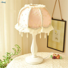 European Lace Fabric Shade Table Lamps Bedroom Bedside Desk Lights Cute Princess Light Pink Girl Room Study Decoration Fixtures(China)