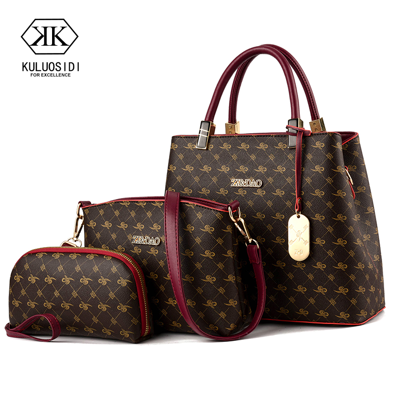 Three piece Luxury Handbags Women Bags Designer Women Leather Handbag Shoulder Bag for Women 2019 Sac