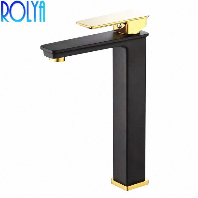 2018 Wholesale Solid Brass Single Hole Black&Golden Vessel Faucet High Body Bathroom Basin Mixer Taps