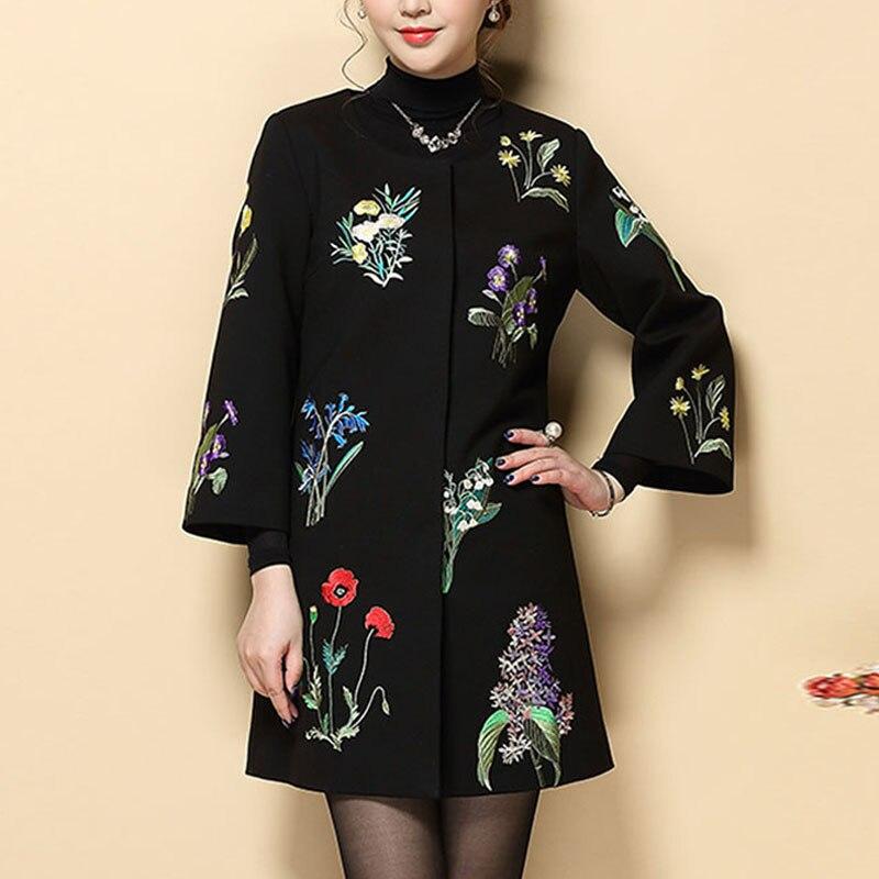 Style Femme Broderie Vintage 5xl Lady Manteaux Manteau D'hiver Plus Chinois Élégant Trench La Piste Nouvelle Taille Royal M Noir Arrivée x8xqwCRI