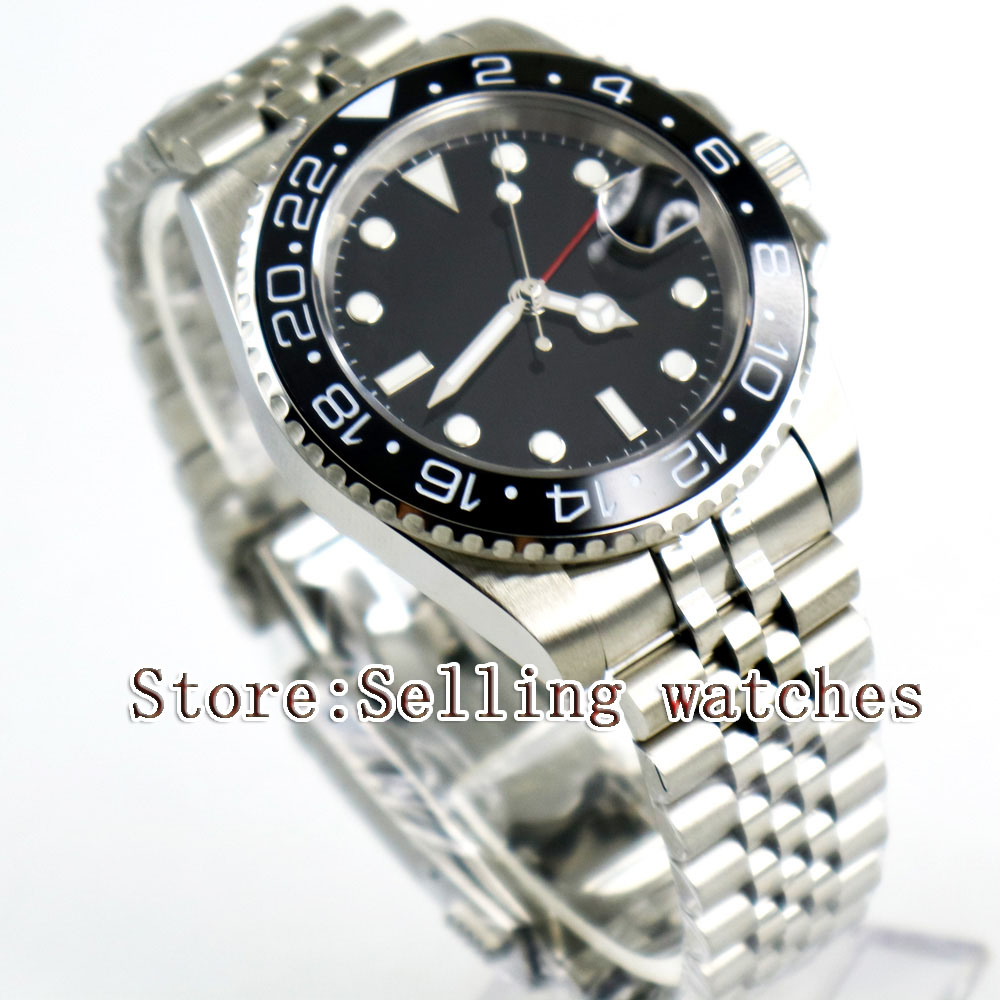 40mm Parnis Black Sterile Dial Black Ceramic Bezel Jubilee Style Strap GMT date window automatic mens watch цена и фото