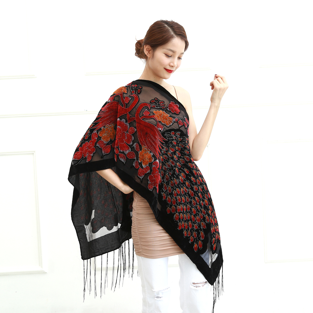 12 Colors Uk Peacock Velvet Shawl Women Scarf Fashion