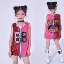 2018 Hip Hop Dance Costumes Kids Sequin Vest Top Child Jazz Stage