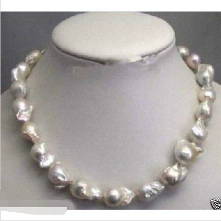 FREE SHIPPING>@@> Large 15 23mm Natural White Baroque Pearl Necklace 18^^^@^Noble style Natural Fine jewe &