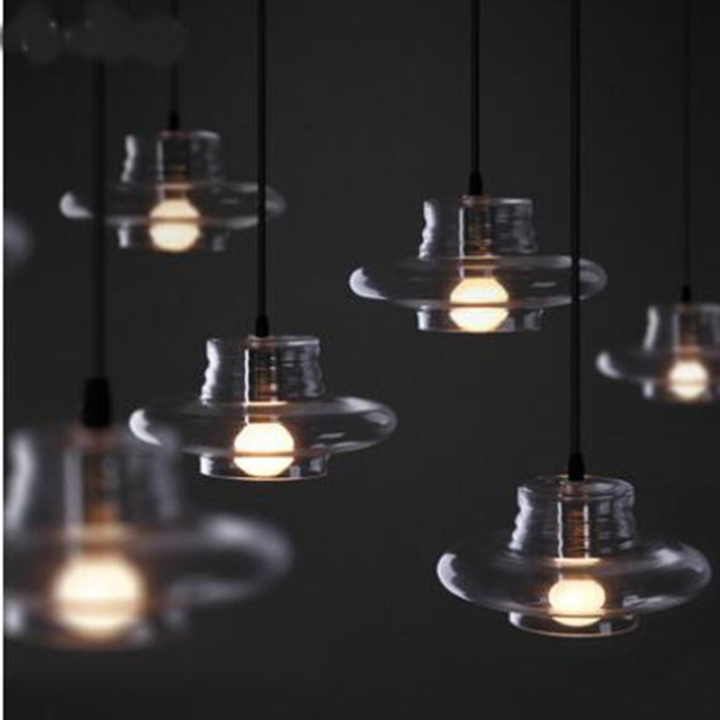 Modern Pendant Lamp clear glass indoor lightings ceiling Fixture light Vintage Style Glass Shade chandelier coffee shop light