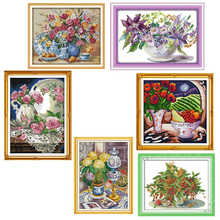Joy Sunday,vase,cross stitch embroidery set,printing cloth kit,needlework, kit,Chinese cross kit