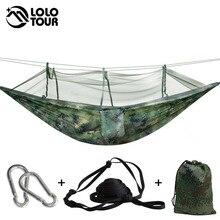 Outdoor Survivalกองทัพตาข่ายเปลญวนแขวน1 2คนSecure HamakสำหรับSleeping Swing Jungle Hamac 270*130ซม.แคมป์แขวน