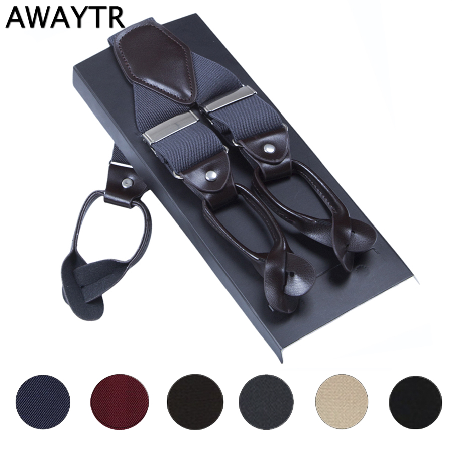 AWAYTR 3.5cm Suspenders Men Leather Braces Adjustable 6 Buttons Suspenders Commercial Western Style Y-Back 6 Colors Gift Box