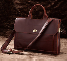 Classic Vintage Leather Men's Chocolate Hand Briefcase Messenger Laptop Bag 7166C