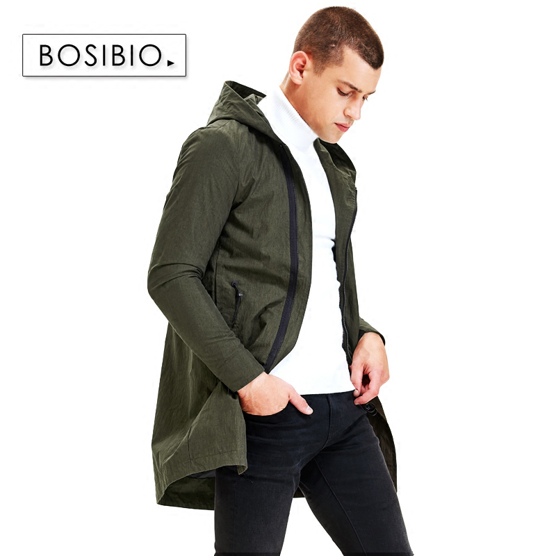 BOSIBIO Fashion Mens Trench Coat Army Green Hoodie Long jackets 2018 spring Autumn male Windbreakers High Quality 9203