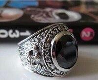 Тайский серебряный Ретро сделать стариков Кольца Серебро Черный оникс широкое кольцо лицо властная Орел Кольца широкий приливные модели