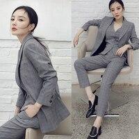 Элегантный корейский Винтаж Для женщин плед Комплект из 3 х предметов Офисные женские туфли Британский Стиль Блейзер костюм штаны жилет уст