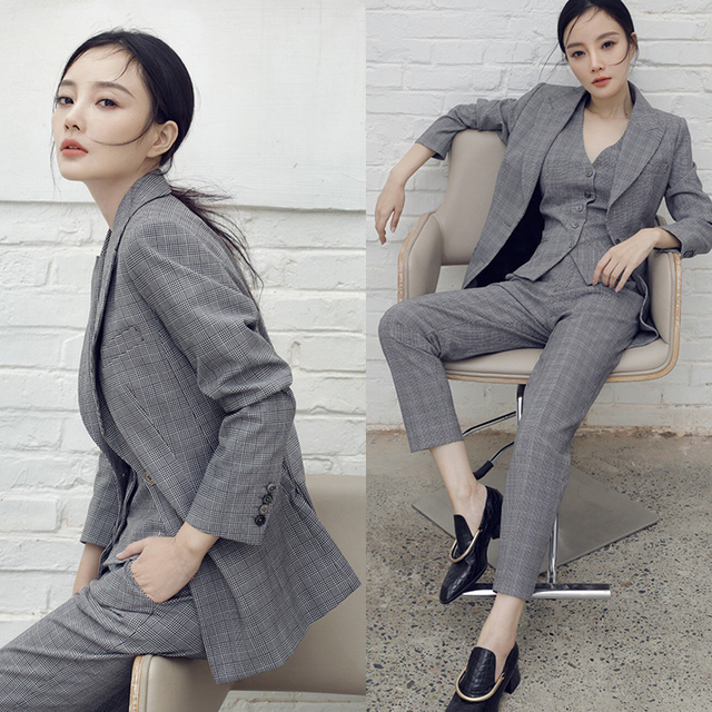 Elegant Korean Vintage Women Plaid 3 Pieces Set Office Lady British Style Blazer Suit Pant Vest Sets 2019 Spring Autumn Y217