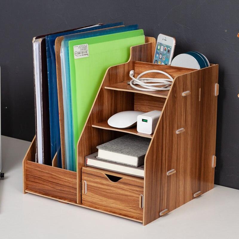 Desktop Receiving Box Office Stationery Document Shelf Rack Creative Home table organizer gold office supplies desk accessories