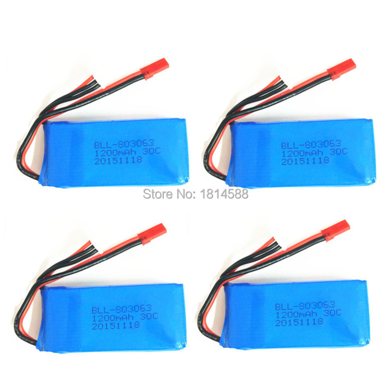 4PCS Lipo Battery 7.4v 1200mAh 2S 30C JST For RC MJX X101  H16  V666 V353B Tarantula X6 YiZhan Helicopter Qudcopter Truck Drone mos rc airplane lipo battery 3s 11 1v 5200mah 40c for quadrotor rc boat rc car